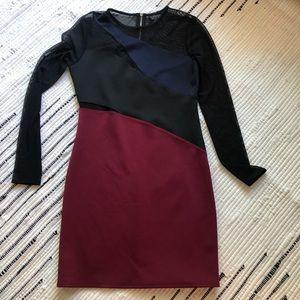 Red and black mesh sleeve mini dress